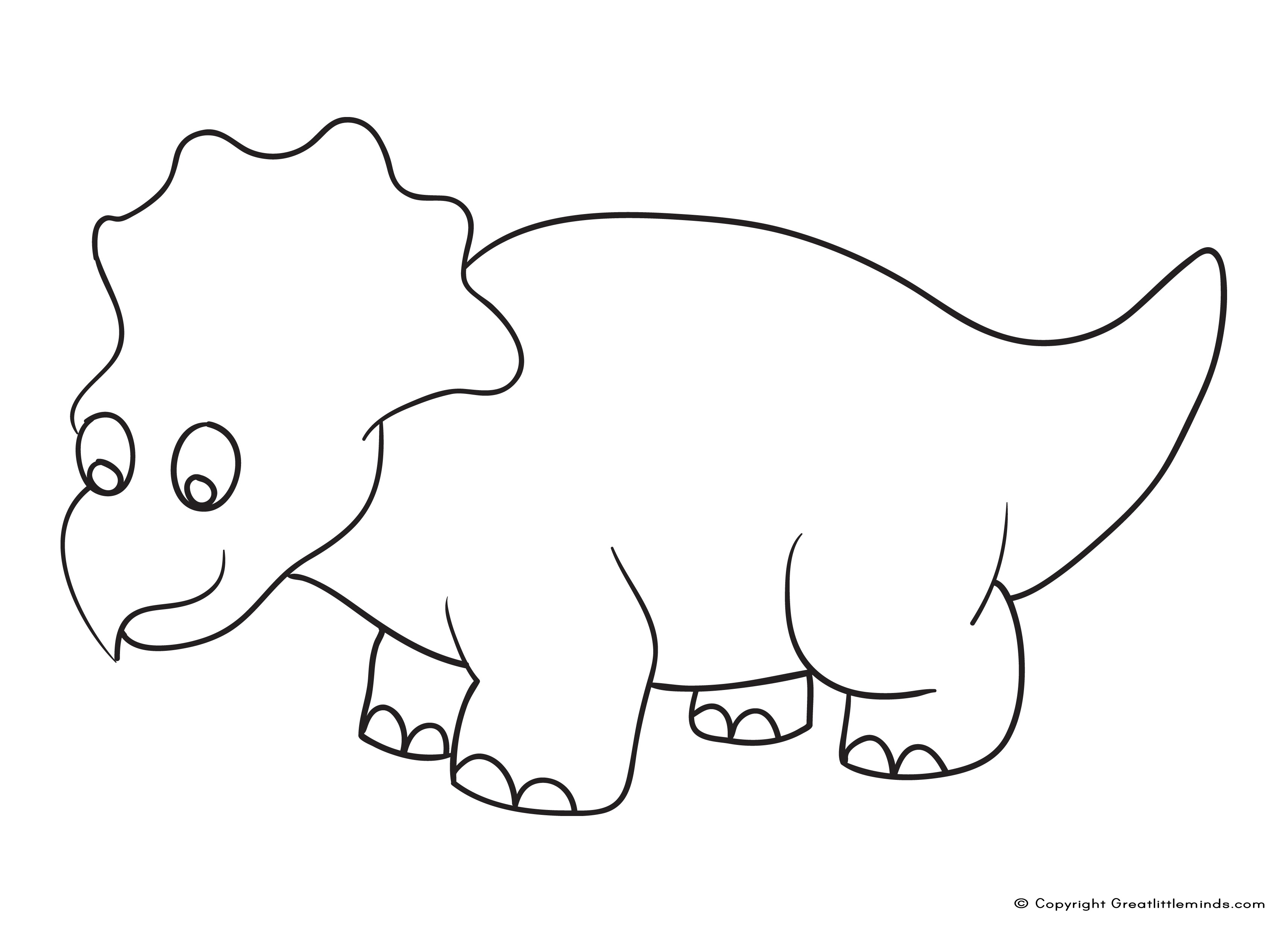 cartoon triceratops to colour in
