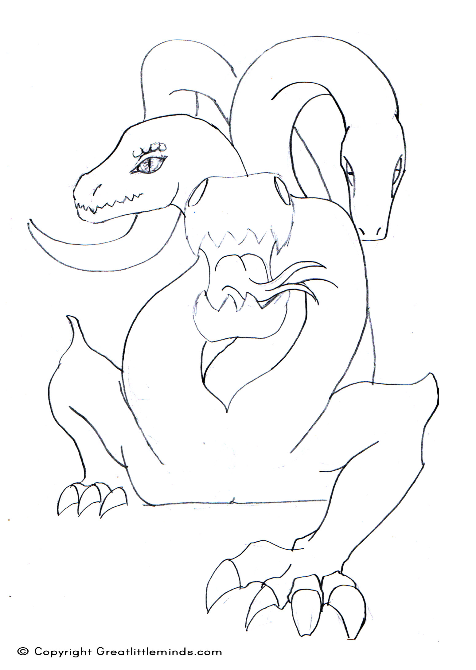 three headed beast coloring pages - photo#6