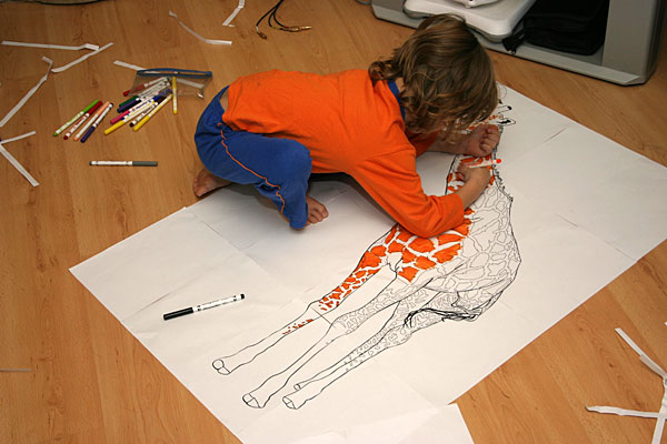 coloring in a giant giraffe